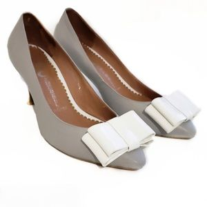 Jeffery Campbell Situation White Gray Bow heels